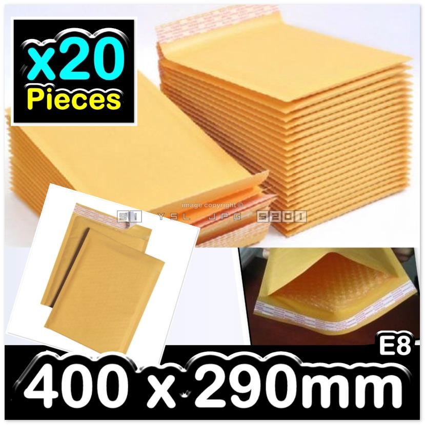 20 Pieces 400x290mm Golden Kraft Air Bubble Wrap Envelope Mailer E8#
