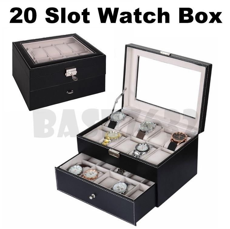 20 Slot  Premium PU Leather Display Watch Storage Box Organizer Case
