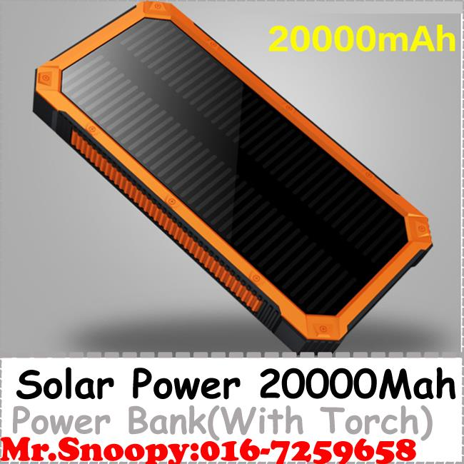20000mah Solar Power Bank, With Led Torch Light, Dual USB 1A, 2A