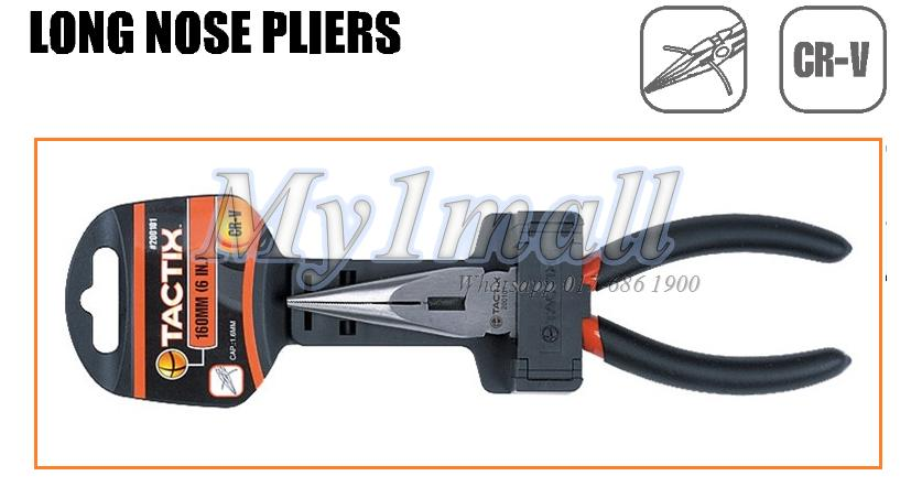 "200103 TACTIX PLIER LONG NOSE 8""/200MM"