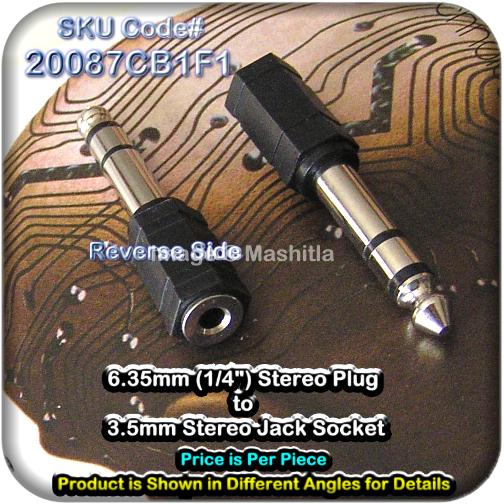 "[20087C] 6.35mm (1/4"") Stereo Plug to 3.5mm Stereo Jack So"