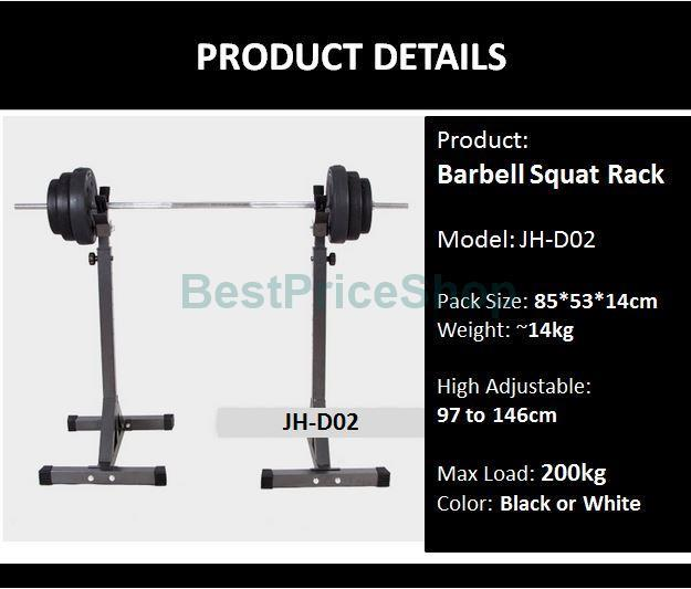 200kg Weight Lifting Bench Press Barbell Stand Squat Rack Gym Dumbbell