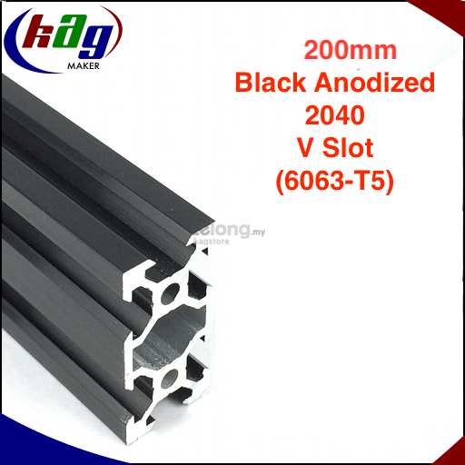 200mm Aluminium Profile V-Slot Black Anodized 2040 (6063-T5)