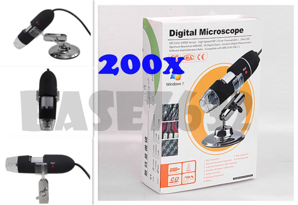 New 200X  +  5X Digital Zoom 8 LED USB Digital Microscope