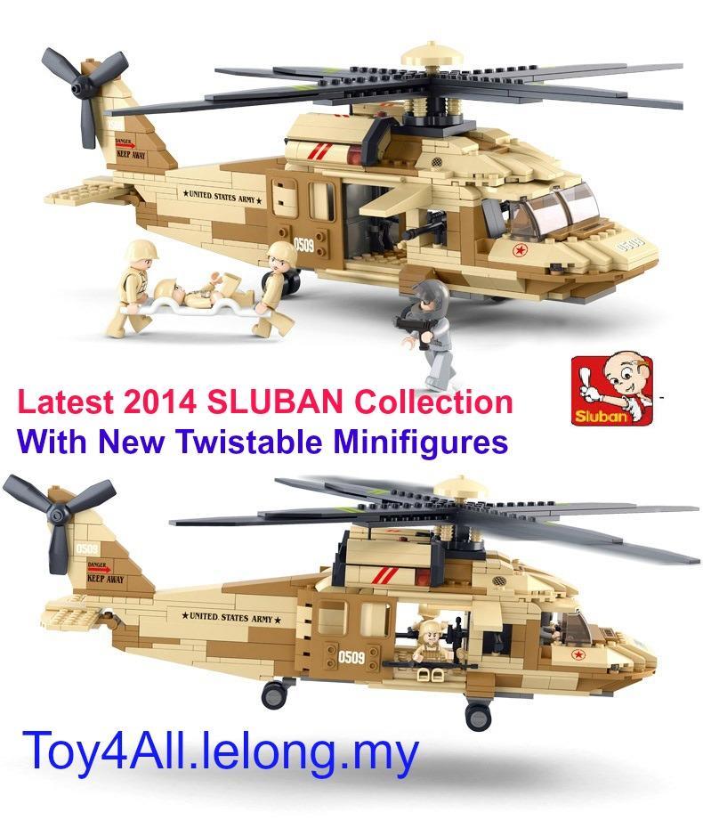 2014 SLUBAN UH-60L Black Hawk Helicopter LEGO Compatible Brick