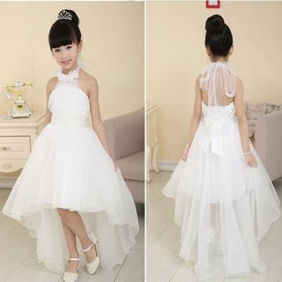 2015 New Fashion Girls Dress White Pearl Tulle Layers Wedding Tailing