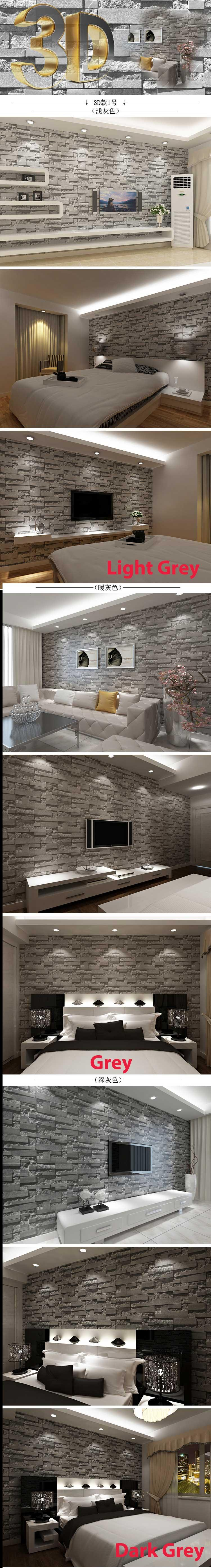 2015 Wallpaper Brick Grey Color 3D Diy (need glue)