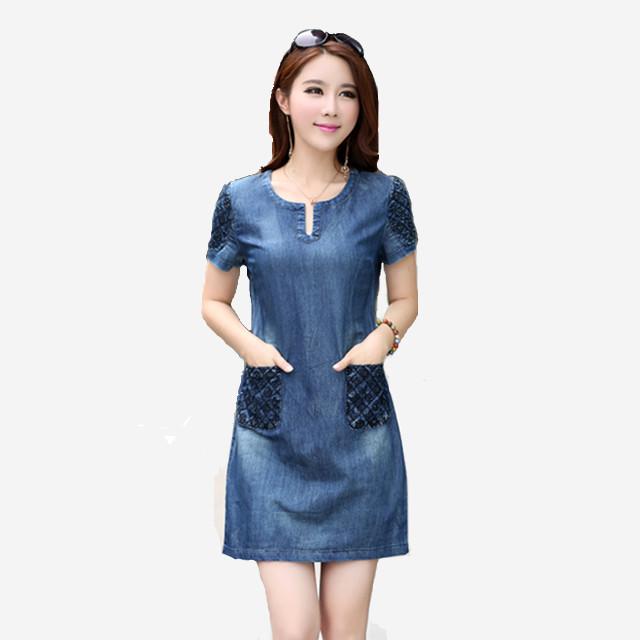 5f8f4bb8f7855 2017 *Korean* Summer Short-sleeved Loose Denim Dress [Pre-Order] T8328