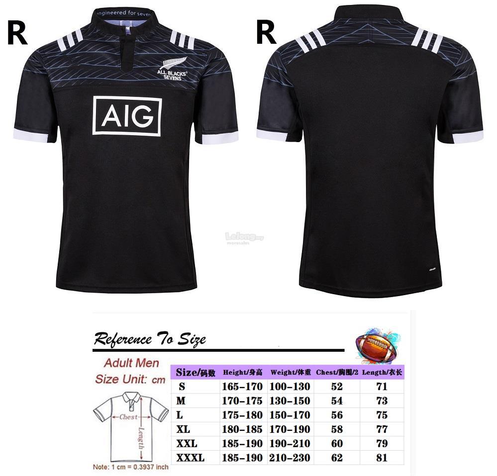 2019 New Zealand All Black Rugby Jersey Polo T-Shirt