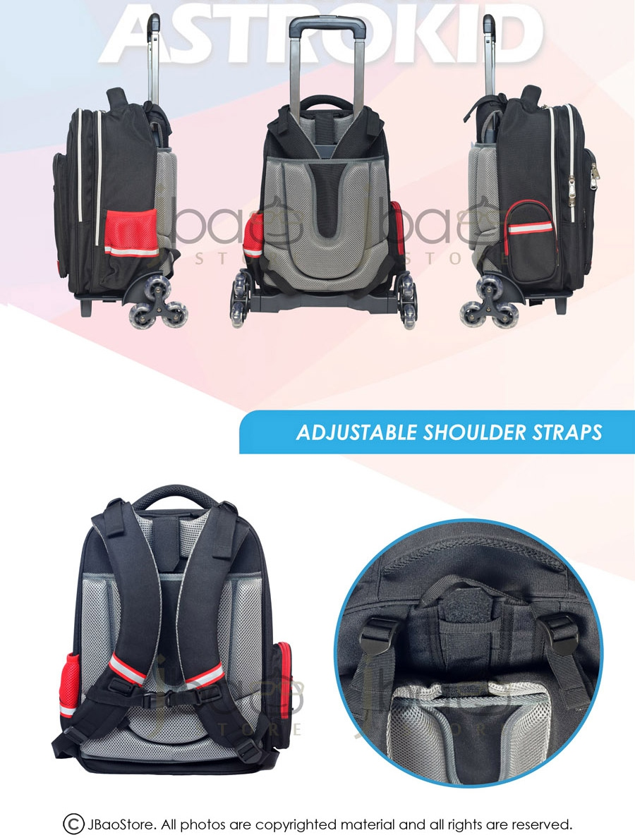 2020 Astrokid 6 Wheels Trolley School Bag Astrokids 3D Foam Cushion Backpack S