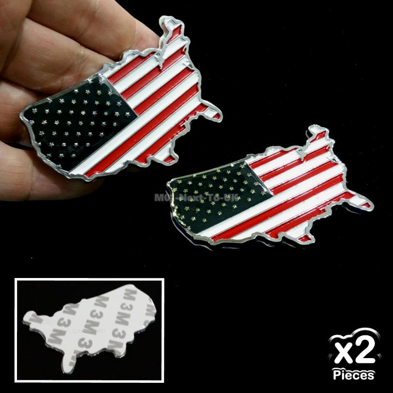 [2063#38-493] 2x Usa Flag License Plate Metal Chrome Car Badge Sticker