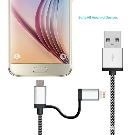 20CM Nylon Braided 2 in 1 Lightning and Mirco USB charger cable