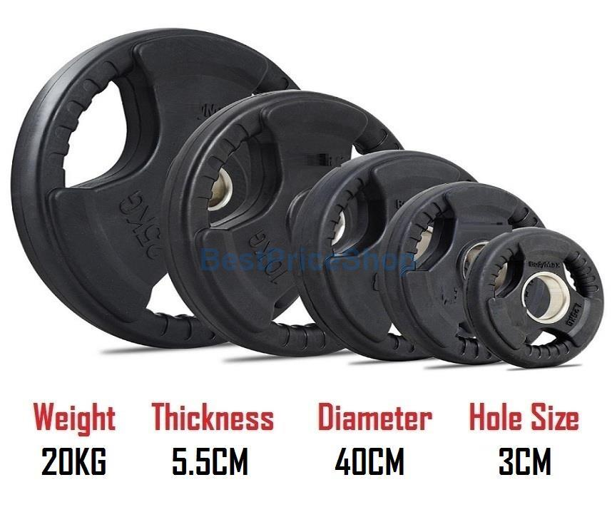 20KG 3CM Hole Tri Grip Rubber Coated Iron Weight Plate Handhold Gym