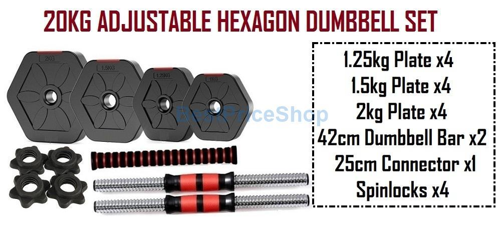20kg Adjustable Hexagon Dumbbell Set Rubber Gym Fitness Weight Plates