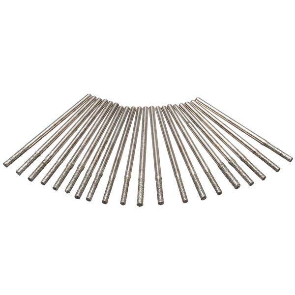 20pcs 2.35mm Shank Diamond Coated Drill Bits Glass Tile Ceramic Marble