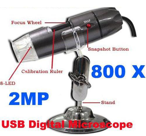 20X to 800X Illuminated 2MP USB Microscope