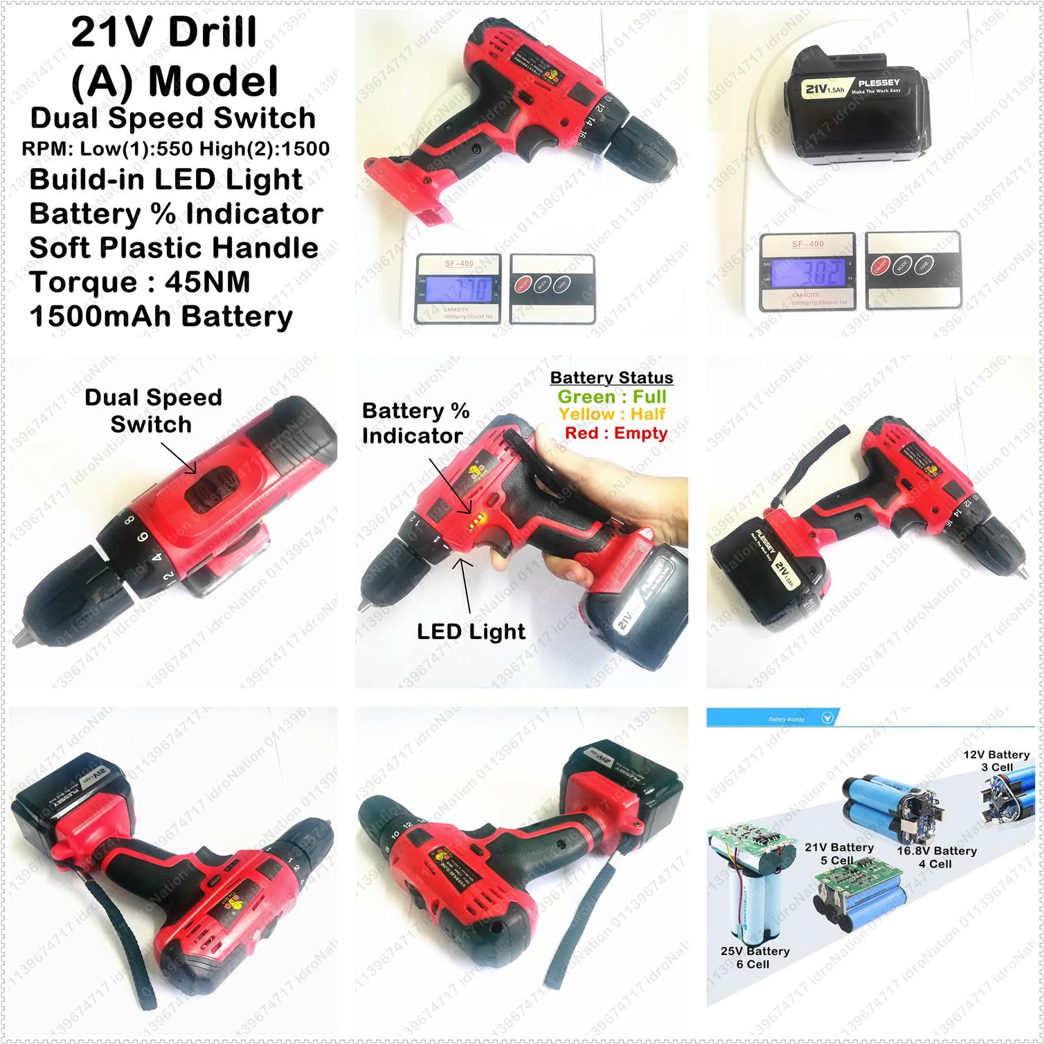 21V Lithium Battery Cordless Drill Electric Screwdriver Hammer Impact