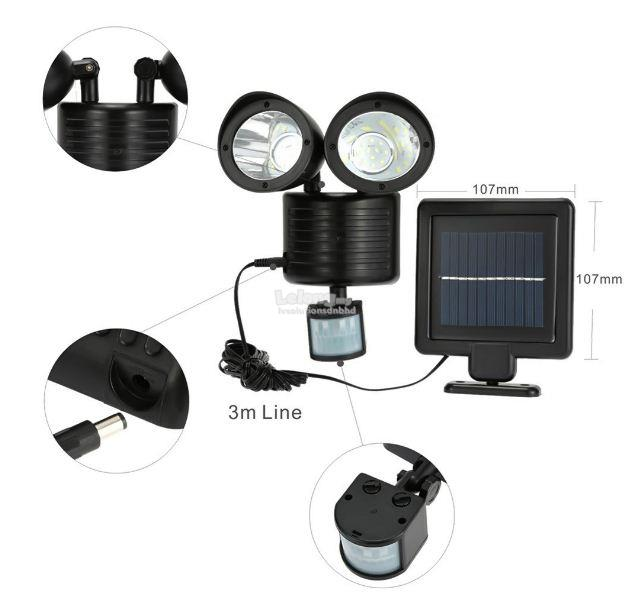 22 LED Solar Powered Rotatable Adjustable Double Dural Heads Security
