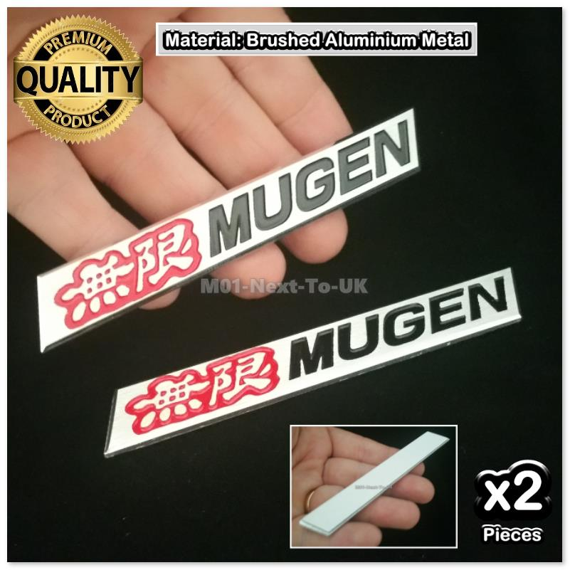 [2274RB#34] 2x Mugen Red Black Badge Emblem Hq Aluminium Metal Plate B