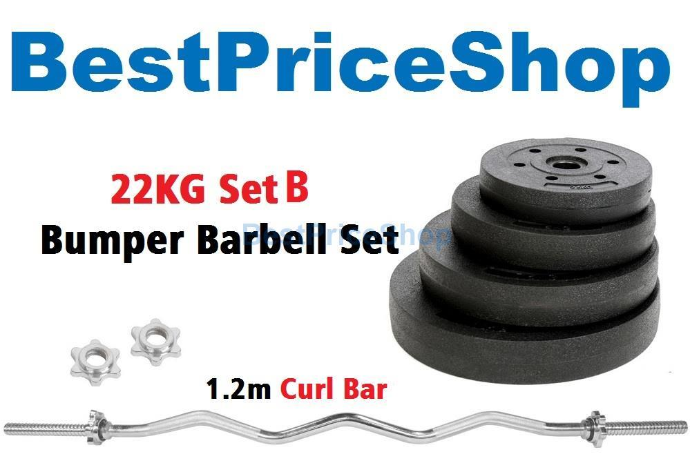 22kg Set B Top Grade Bumper Barbell Dumbbell Weightlifting Bar Gym