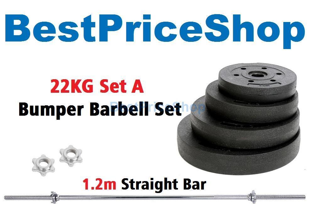 22kg Set A Top Grade Bumper Barbell Dumbbell Weightlifting Bar Gym