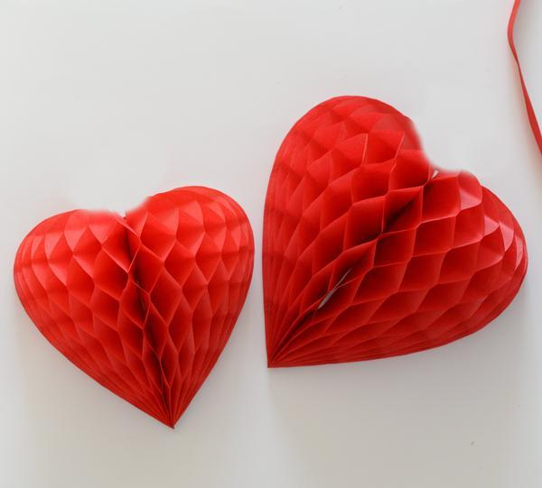 23.5cm Paper Heart Honeycomb Ball Fans Lanterns Decoration (Red)