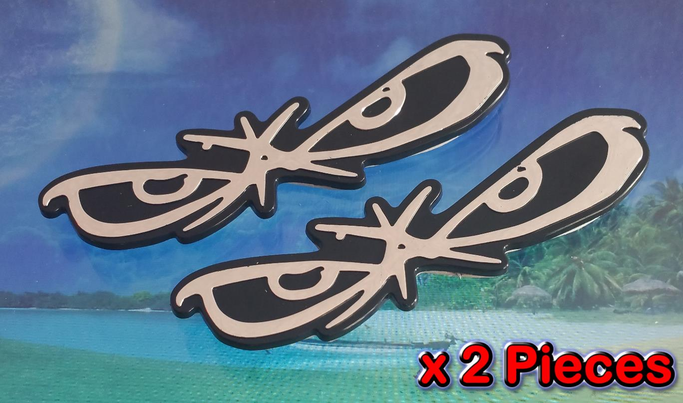 [2397BK#649] 2x No Fear Eyes Black Chrome 3D Car Trunk Badge Side Auto