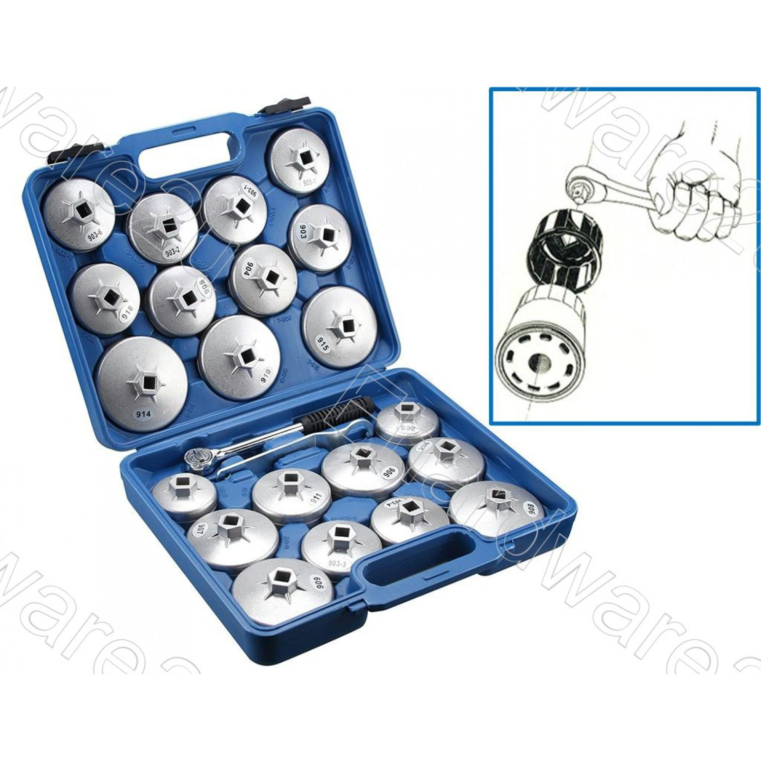 23Pcs Aluminum Oil Filter Cap Wrench Set (ACT9860)