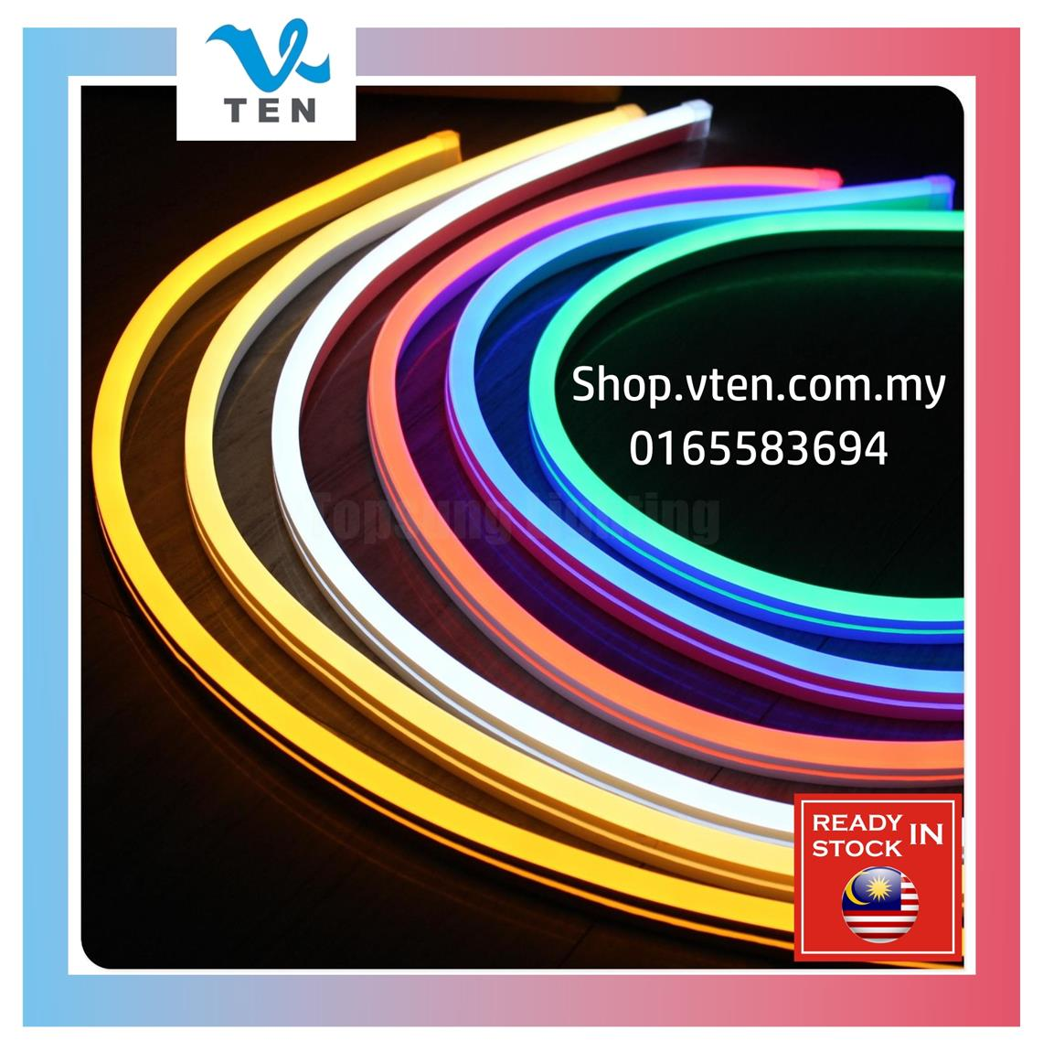 240V Waterproof Flexible Bright Neon LED Strip Light 10m With Adapter