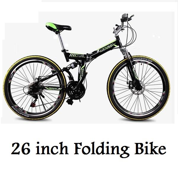26 inch Folding Bike 21 Speed Foldable Bicycle High Carbon Steel Frame