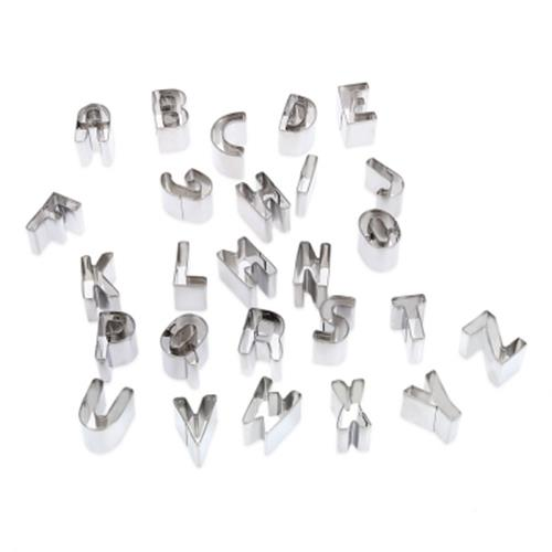 26 LETTERS ALPHABET STAINLESS STEEL COOKIE CUTTER PASTRY MOLD (SILVER)