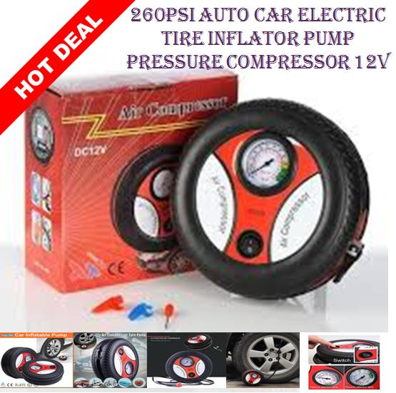 260PSI Auto Car Electric Tire Inflator Pump Pressure Compressor 12V