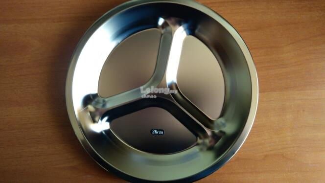 26cm Stainless Steel 3 Sections Divided Dish Tableware Dinner Plate