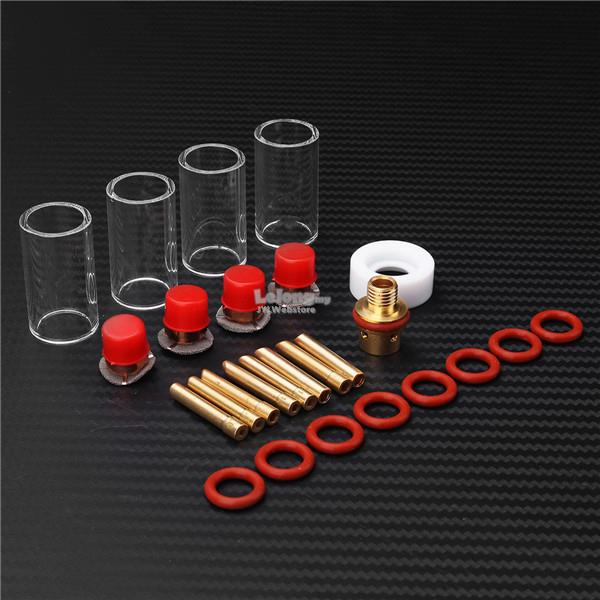 26pcs TIG Welding Torch Kit Stubby Gas Lens Glass Nozzle Cup Set For W