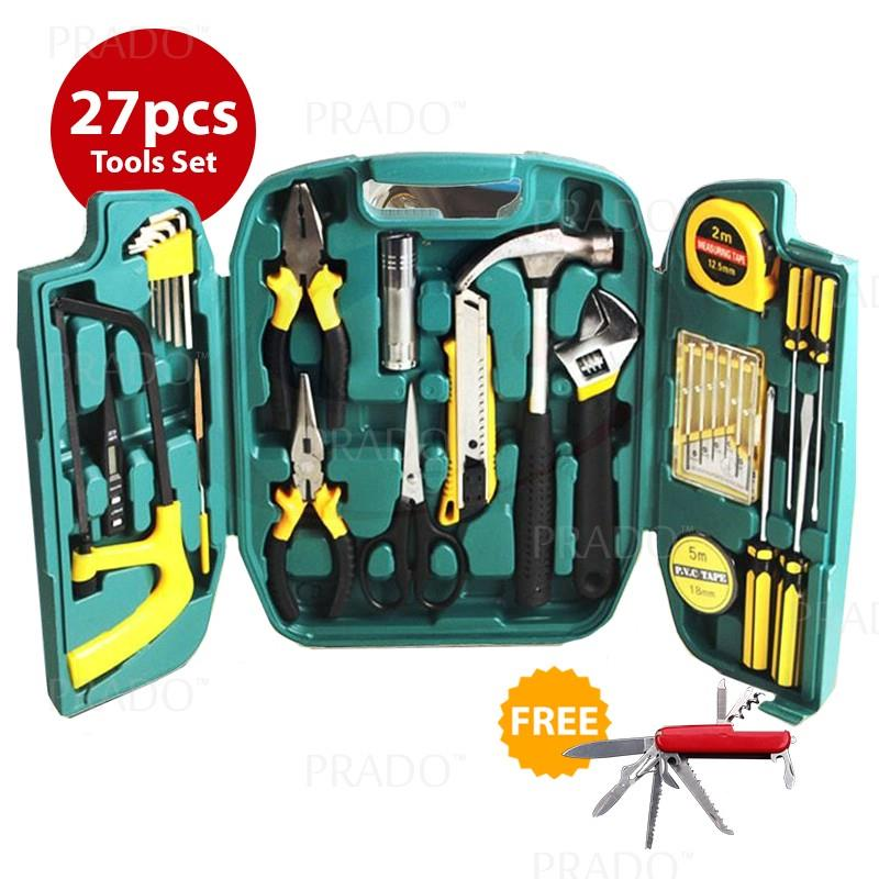 27 in 1 Hardware Hand Tools Set Kit Plier Screwdriver Saw Torch