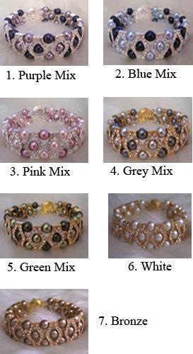 27 Colour Choices 18KGP Diamond Swarovski Pearl Bracelet Cuff Gelang