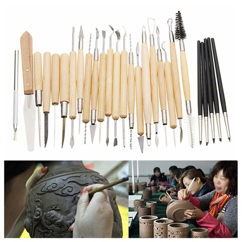 27pc/set Clay and Pottry Sculpture Tool Set Carving Fimo Modeling Tool