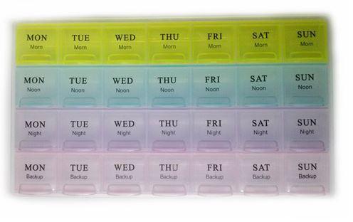 28 Compartments 7 days week Pill Box/Medicine Organizer