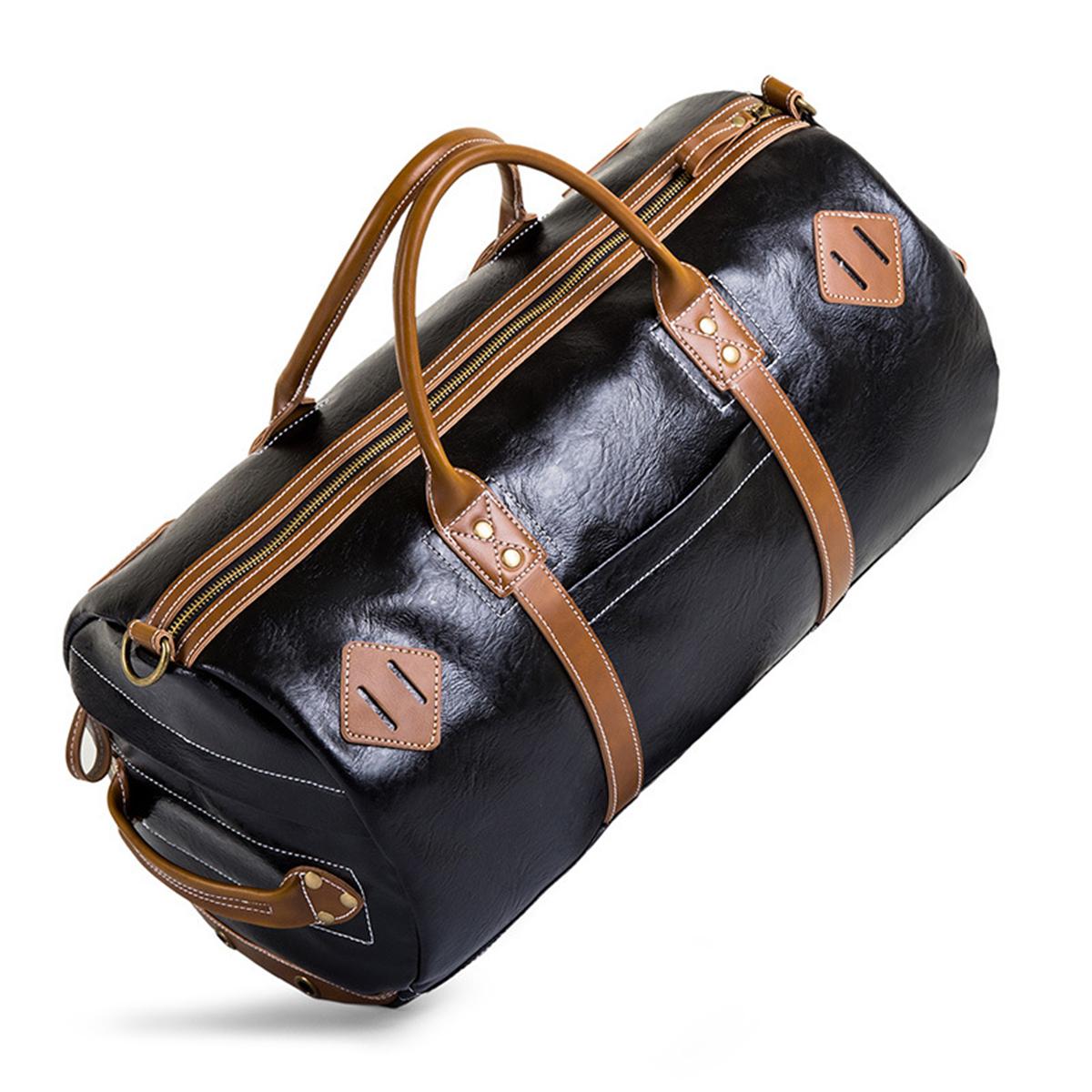 73ab0234f349 28L Men PU Leather Handbag Shoulder Bag Duffle Gym Tote Bag Sports Tra..