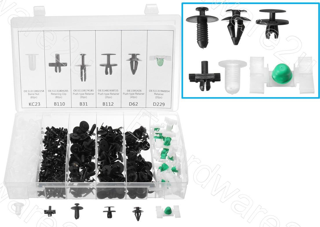 290 Clips Bumper Hood Insulation Trim Panel Moulding Retainer Assortment For BMW