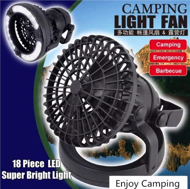 2in1 Camping Light 18LED Light Camping Fan Tent Fan Tent Light Outdoor