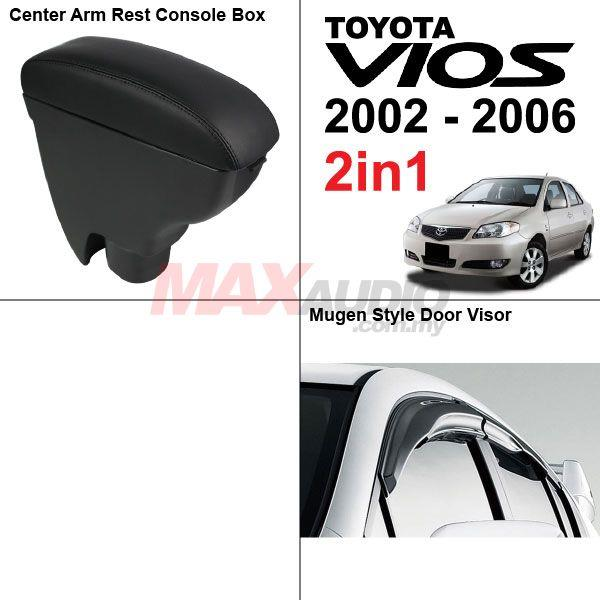 2in1* TOYOTA VIOS 2002-06 Leather Arm Rest + Mugen Style Door Visor
