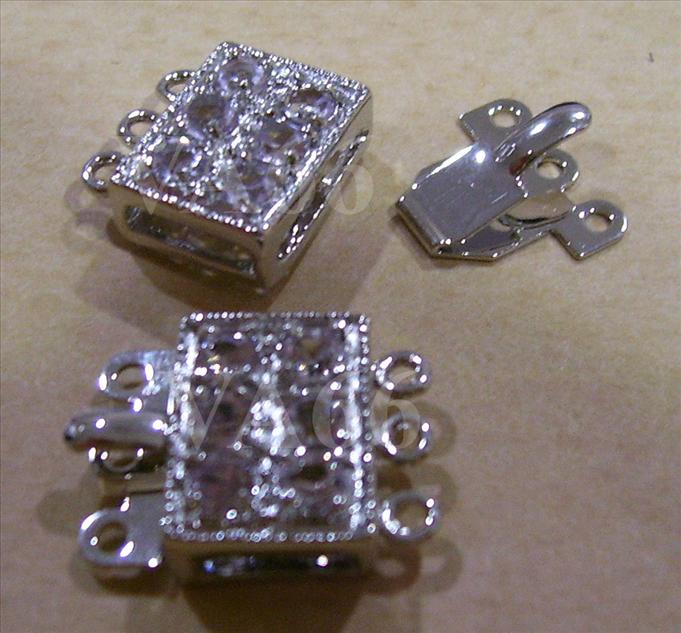 2p Silver Color Rhinestone 3-strand Clasps Findings L32 Jewelry Making..