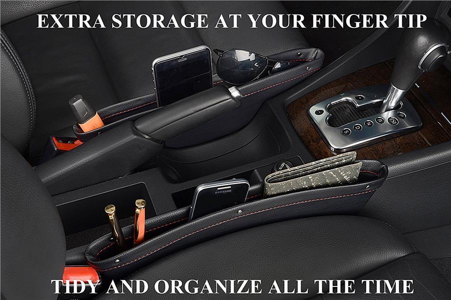2Pack Leather Car Seat Catcher Magic Box Organizer Side Gap Pocket