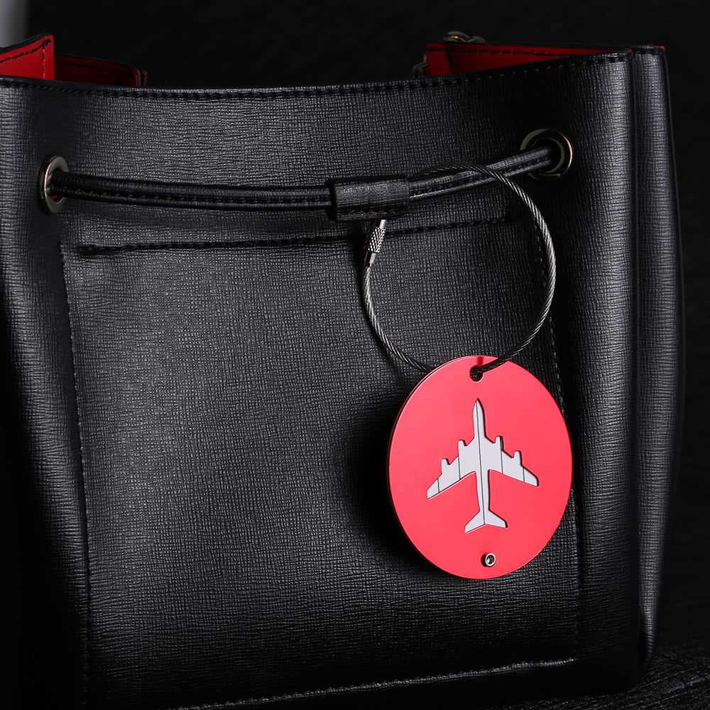 e7344cab32cd 2Pcs Aluminum Alloy Metal Air Plane Pattern Travel Airlines Round Luggage  Tag