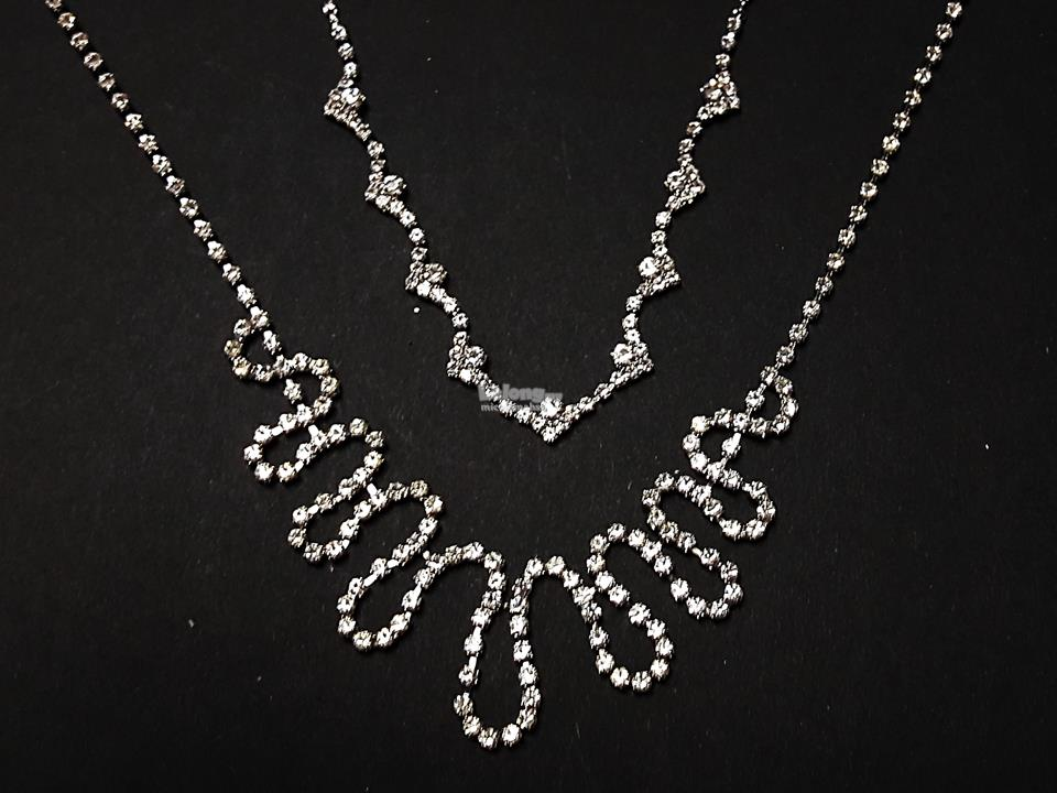 2pcs BIJOUX Silver Necklace Crystal Costume Jewellery a3
