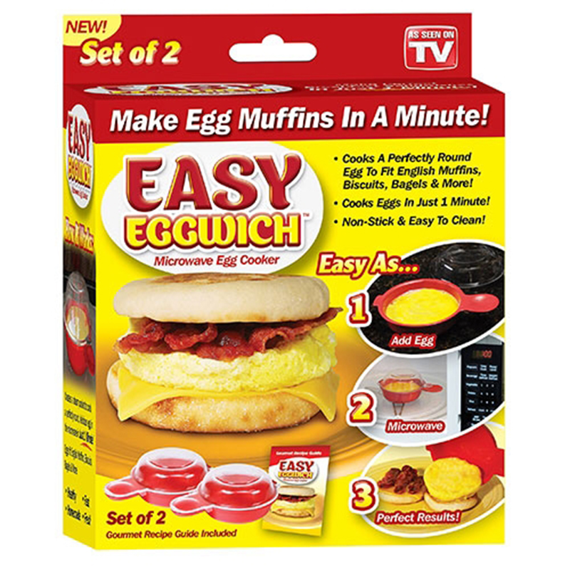 2Pcs Easy Eggwich Cooking Tool Cheese Egg Cooker Omelet Maker