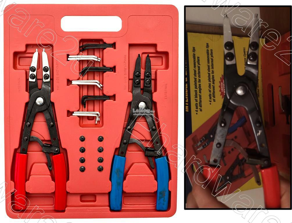 2PCS LARGE 10in CIRCLIPS SNAP RING RATCHET PLIERS SET (3471)