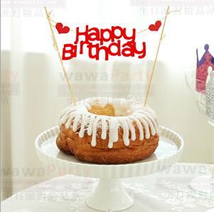2pcs Special Price Love Happy Birthday Cake Topper