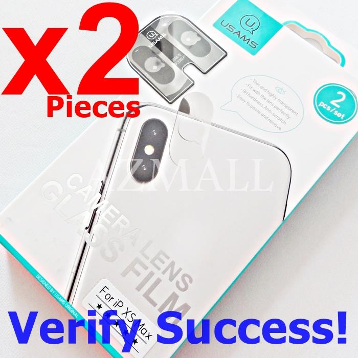 2PCS USAMS Rear Back Camera Lens Tempered Glass Apple iPhone XS Max